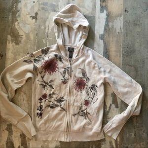 Lucky brand Asian inspired hoodie size medium